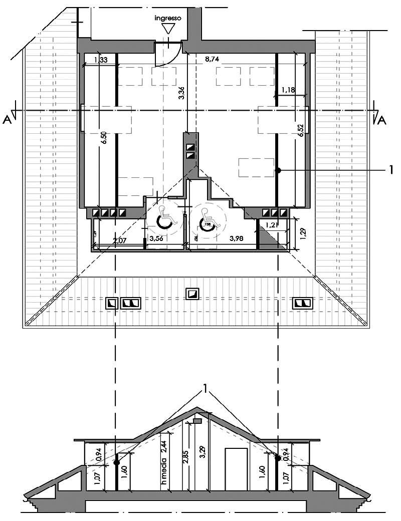 Pianta e sezione di un sottotetto soggetto a recupero abitativo ai sensi della L.R. 21/2008, con evidenza delle altezze minima e media