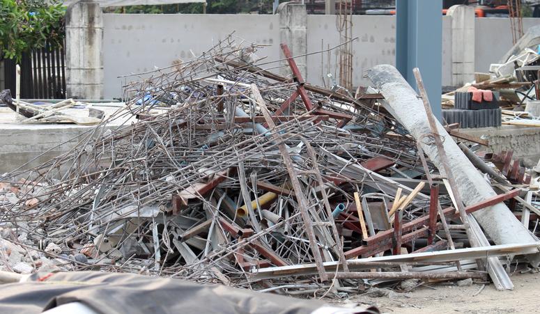 Debris in the construction area