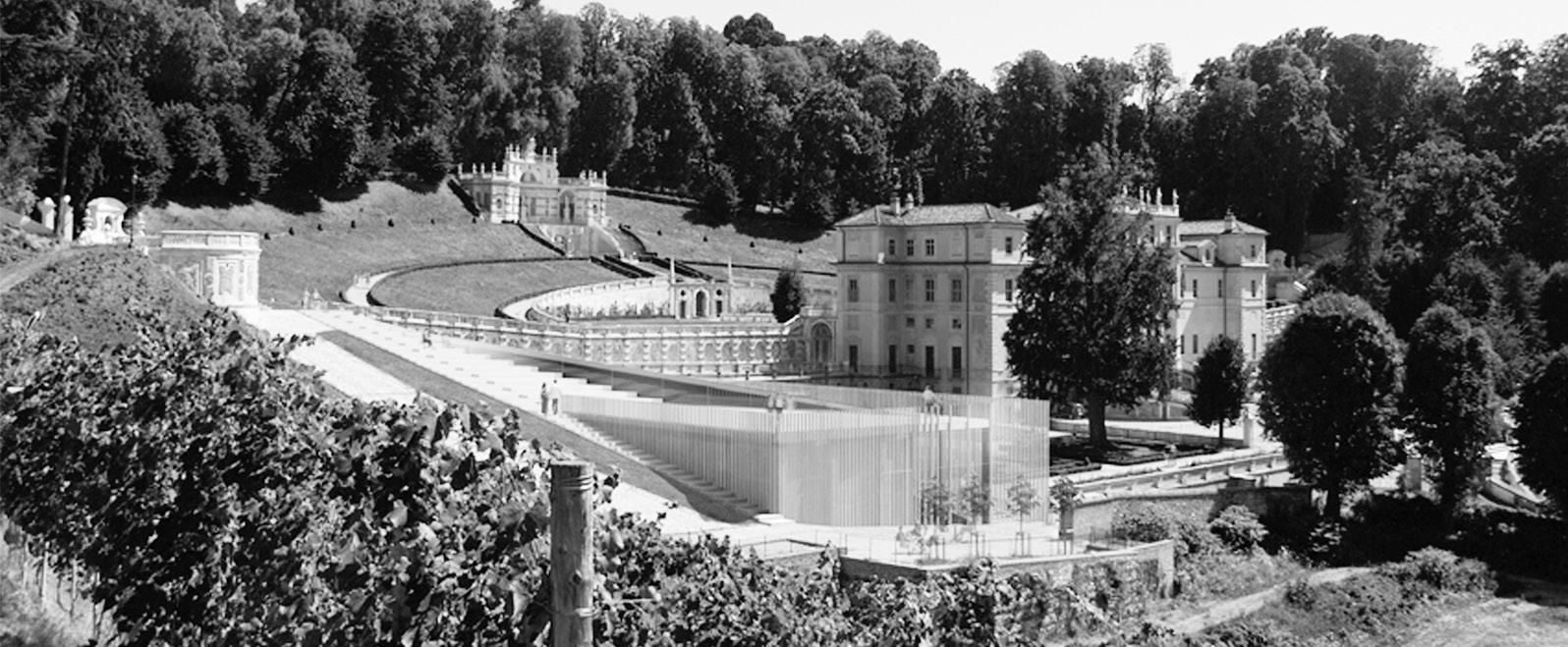 Creazioni di dislivello artificiale (render manica accoglienza Villa della Regina, Concorso)